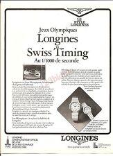 Longines Montre XXII Jeux hiver 1980 Advertising Publicité Années 80' Vintage AD