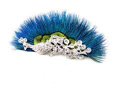 Pfauenfeder Silberner Strass Haar-clip Fascinator Braut 1920er Jahre Blau Vtg