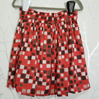 Banana Republic Women's Red Geometric Print A-Line Skirt | Size 8