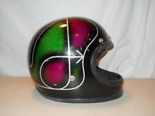 Vintage Metalflake Arctic Cat Snowmobile Helmet, Full Face, Green Purple Black