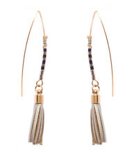 Fish Hook Earring Seed Beads Leather Tassels Hook Earrings Silver Colored