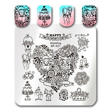 Nail Art Image Stamp Templates Printing Square Happy Wedding DIY Born Pretty