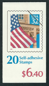 Scott # 2921. .32 Cent... Flag Over Porch....Booklet  with.20 Stamps