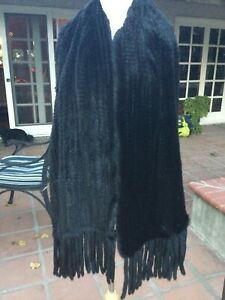 Black Knitted Mink/Shawl with Tassles