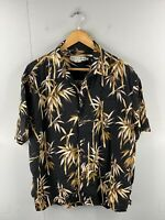Quicksilver Edition Men's Vintage Short Sleeve Beach Hawaiian Shirt Size L Black