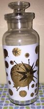 Mid Century Modern Black and Gold Stars And Moon Apothecary Bottle with Lid