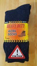 MEN'S THICK HEAVY DUTY WORK SOCKS 3 PAIRS YELLOW LABEL SIZE MEN'S 6-11 UK