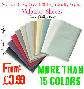 NON IRON EASY CARE VALANCE SHEET PERCALE T180 PILLOW CASES BEDDING ALL SIZES