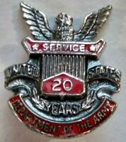 Vintage 1950s Sterling Silver Department Of The Army 20 Years Service Pin