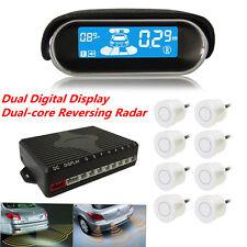 White 8 Sensors Double Digital LCD Display Dual-core Car Reverse Parking Radar
