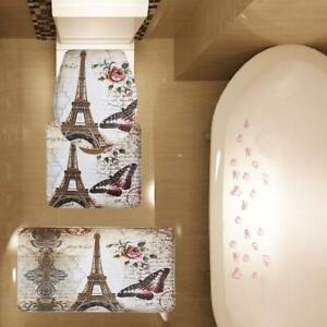 3 Piece Bathroom Mat Set Paris Brown Eiffel Tower Contour Mat Toilet Cover Mat