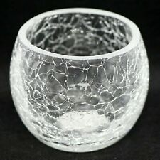 Bowl Crackle Glass Tea Light Candle Holder - Cracked Pattern Effect (white).