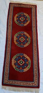 "Vintage Hand Knotted Red Tibetan Rug 25"" x 6ft Wool Rare Carpet Himalayan"