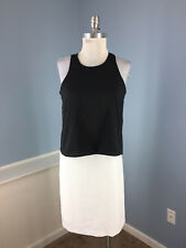 New Donna Karen DKNY XS 2 Black White Color Block Dress Cocktail Open Back