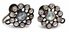 Vtg ART DECO Sterling Silver Clear & AQUAMARINE Color Paste Earring Tops RARE!
