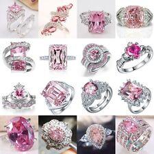 Charm Jewelry Women 925 Silver Pink Sapphire Gemstone Wedding Bridal Ring Sz6-10