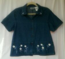 Erika & Co. Shirt Short Sleeve Denim Button Front Top Shirt - Women's M