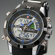 Shark Mens LCD Digital Quartz Wrist Watch Chronograph Sports Army Black Silicone