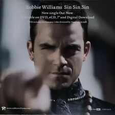 More details for robbie williams ~ sin sin sin - rare 2006 uk promotional advertising card slick