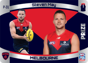 2021 AFL TEAMCOACH TEAM COACH PRIZE CARD MELBOURNE DEMONS STEVEN MAY P31