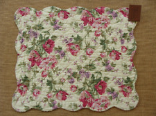 GINA Quilted Placemat - Flowers in Pinks, Green, Lavender on Buttercream