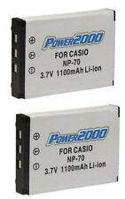 2 Batteries NP-70 NP-70DBA for Casio EX-Z150 EX-Z150BK EX-Z150GN EX-Z155 EX-Z250