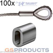100x 4mm Aluminium Ferrules Steel Wire Rope Crimping Sleeve FREE POSTAGE!!!!!!!