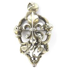 Antik Silber Brosche Adel Wappen Lilie Helm Efeu Haraldik Silber Brooch um 1800