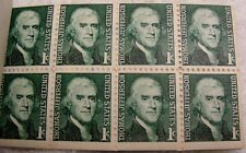 1968 Thomas Jefferson 1 cent Stamp block of 8, SC # 1278 Book Intact - Free Ship