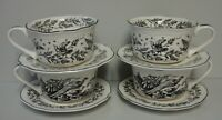 Tabletops Unlimited NEW ENGLAND TOILE BLACK Cups & Saucers  SET OF FOUR More
