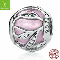 925 sterling silver Nature's Radiance Pink Clear CZ Charms Fit European Bracelet