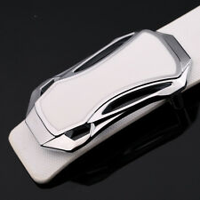 Sports Car Head Pin Buckle Leather Belts Brown Racing Car Belts For Men