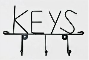 """Wall Mounted Key Holder 3 Hooks, screws and raw plugs included, cast Iron """"KEYS"""""""