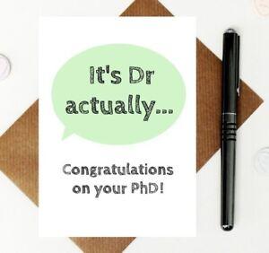 funny PhD card - dr card - doctor card - graduation card - congratulations card