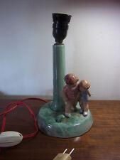 mid century Tisch Lampe Majolika Keramik Kinder und Frosch#H