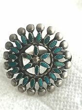 Vintage Sterling Silver Southwest Tribal Ring Turquoise Size 6 3.2g  Petite Poin