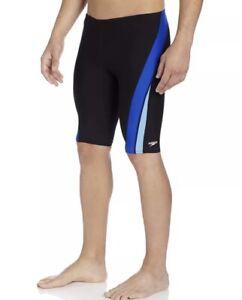 Speedo Mens Boys Endurance+ Launch Splice Jammer Swimsuit, Black/Blue, Size 26