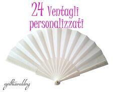 24 Pezzi Ventagli Bianchi Personalizzati Matrimonio Wedding