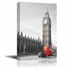 Pop of Color the Red Bus in London by the Big Ben - Canvas Art Home Decor- 12x18