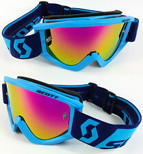 2016 SCOTT RECOIL XI MOTOCROSS MX GOGGLES BLUE with GOGGLE-SHOP PINK MIRROR LENS