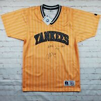 Vtg NEW YORK YANKEES Russell Athletic SIGNED JERSEY Orange Mens M 90s