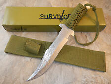 "12"" TACTICAL HUNTING Survival Damascus FIXED BLADE KNIFE Army Bowie w/ SHEATH"