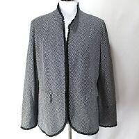 Chicos Blazer Jacket Sz 2 L Black White Long Sleeve Ruffle Trim Rayon Blend