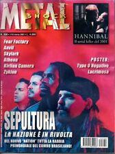 METAL SHOCK N°330/2001 SEPULTURA FEAR FACTORY ANVIL