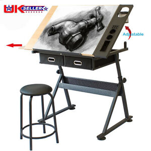 Adjustable Drafting Table Art Craft Drawing Desk with Stool Architect Desk Stand