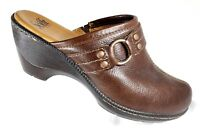 Sofft Womens Size 9M Brown Pebbled Leather Slip On Mules Clogs Comfort Heels