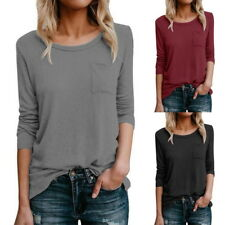 Damen Langarm Bluse Strickshirt Pullover Sweatshirt Oberteile Tops Basic T Shirt