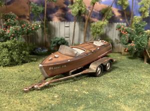 Boat & Trailer Rusty Weathered Barn Find Custom For 1/64 Junkyard Diorama