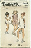 B 3042 sewing pattern 70's trendy TENNIS DRESS fashion SHORTS sew girl's size 14