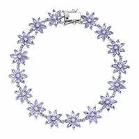 8 ct Natural Tanzanite & White Topaz Flower Bracelet in Sterling Silver